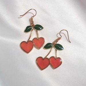 Red Heart Cherry Earrings